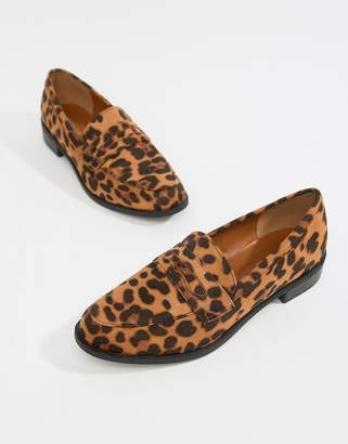 Glamorous leopard print flat loafers