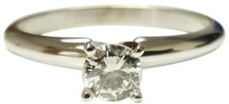 14K White Gold and Diamond Solitaire Ring Size 7