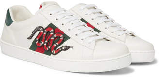 Gucci Ace Watersnake-Trimmed Appliqued Leather Sneakers - White
