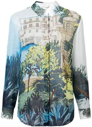 Altuzarra 'Chika' Landscape-Print Silk Shirt