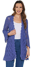 Isaac Mizrahi Live! Bell Sleeve Scallop StitchCardigan