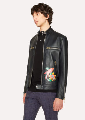Paul Smith Men's Black Leather Motorcycle Jacket With 'Ocean' Detail