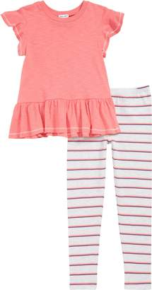 Splendid Peplum Top & Stripe Leggings Set