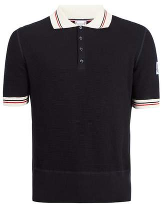 Moncler Gamme Bleu Contrast Collar Cotton Polo Shirt - Mens - Navy Multi