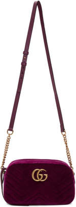 Gucci Purple Velvet Small GG Marmont 2.0 Shoulder Bag