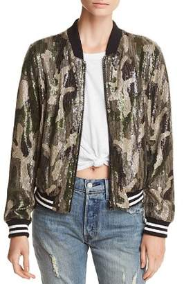 Aqua Sequined Camo Bomber Jacket - 100% Exclusive