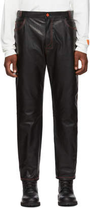 Heron Preston Black Leather Straight Leg Trousers