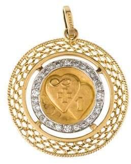 14K Diamond Medallion Pendant