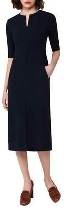 Akris Half-Sleeve Wool Midi Dress