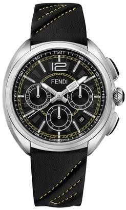 Fendi Momento Chronograph Leather Strap Watch, 46mm