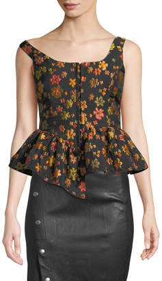 Isa Arfen Boat-Neck Sleeveless Hook-Front Floral-Jacquard Top