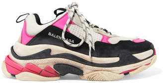 Balenciaga Triple S Distressed Logo-embroidered Leather, Nubuck And Mesh Sneakers - Pink