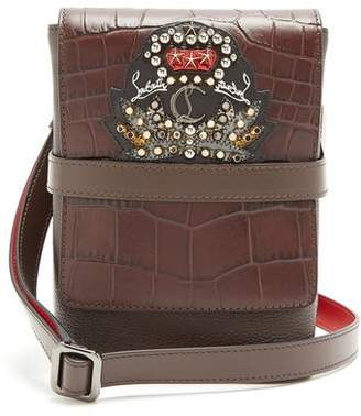 Christian Louboutin Benech Small Embellished Leather Cross Body Bag - Mens - Brown