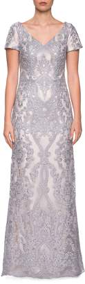 La Femme Embroidered Lace Column Dress