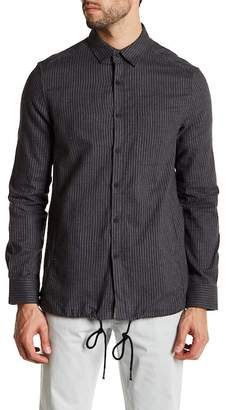 Kenneth Cole New York Long Sleeve Front Pocket Pinstripe Modern Fit Woven Shirt