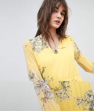 Vero Moda long sleeve floral maxi dress in yellow