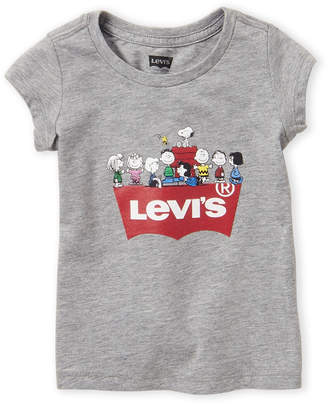 Levi's Toddler Girls) Grey Snoopy Squad Short Sleeve Tee