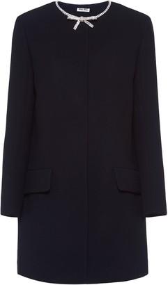 Miu Miu embellished bow cady coat
