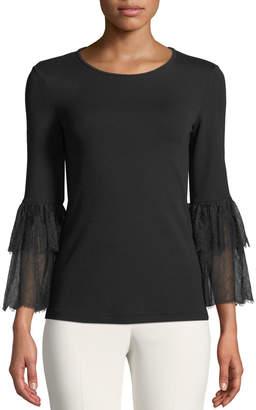 Michael Kors Lace-Bell-Sleeve Stretch Matte Jersey Top