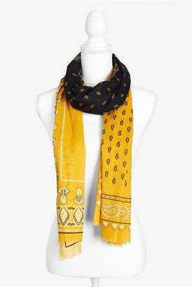 Next Womens Black And Yellow Paisley Pattern Lightweight Scarf