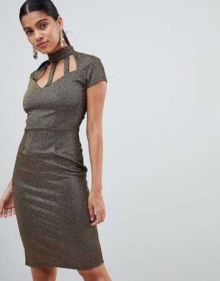 Outrageous Fortune Bodycon Dress With Cage Bust Detail