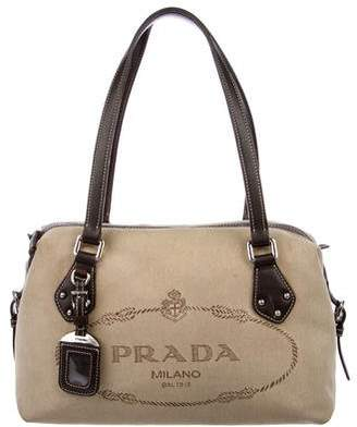 0515fc8913b6 ... low price pre owned at therealreal prada logo woven tote 7f2b8 dabad