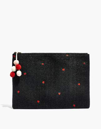 Madewell Oversized Embroidered Straw Pouch