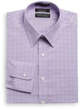 Saks Fifth Avenue BLACK Classic-Fit Glen Plaid Dress Shirt