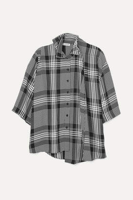 Balenciaga Layered Checked Poplin Shirt - Black