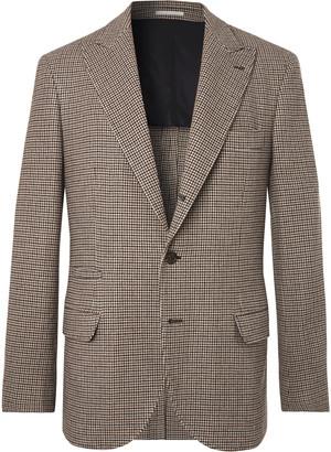 Brunello Cucinelli Brown Alessio Houndstooth Wool And Cashmere-Blend Blazer