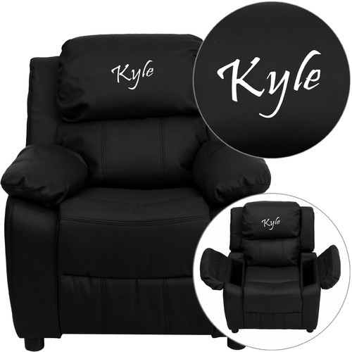 Flash Furniture Deluxe Contemporary Personalized Kids Leather Recliner with Storage Compartment