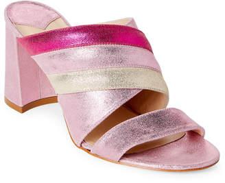 Polly Plume Molly Keywest Metallic Leather Block Heel Slide Sandals