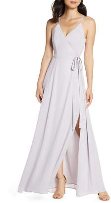 WAYF The Angelina Slit Wrap Gown