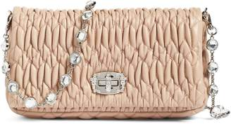 Miu Miu Small Crystal Embellished Nappa Shoulder Bag