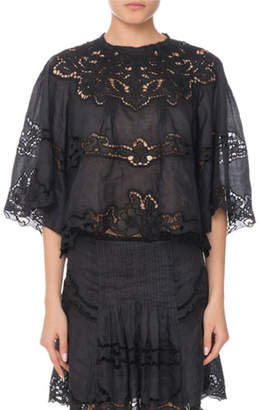 Isabel Marant Eyelet-Lace Elbow-Sleeve Ramie Top