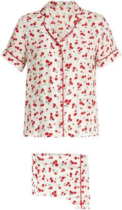 HVN Cherry-print silk pyjama set
