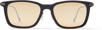 Jimmy Choo RYAN Grey Acetate Square Sunglasses with Silver Mirror Lenses