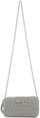 Miu Miu Grey Mini Crystals and Pearls Bandoliera Bag