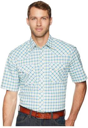 Wrangler 20X Short Sleeve Two Pocket Competition AC Snap Plaid Men's Short Sleeve Button Up