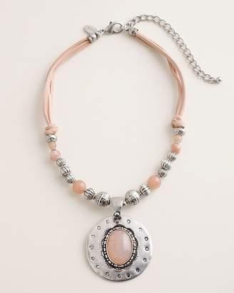 Chico's Chicos Short Beaded Blush Peach Pendant Necklace