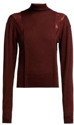 Chloé Lace Insert High Neck Wool Blend Sweater - Womens - Burgundy