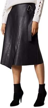 Karen Millen Faux Leather Faux-Wrap Skirt