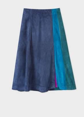 Women's Dark Navy Colour Block Suede Midi Skirt