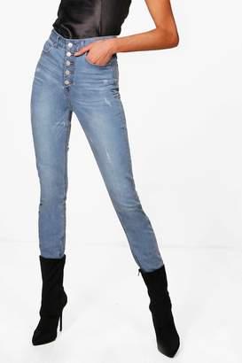 boohoo Tall Button Through High Waisted 36 Jeans