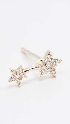 14k Single Diamond Double Star Stud Earring