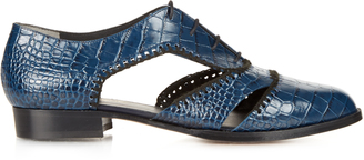 ROBERT CLERGERIE Ambro crocodile-effect leather shoes $695 thestylecure.com