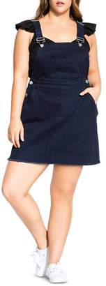 City Chic Plus Denim Overall Dress