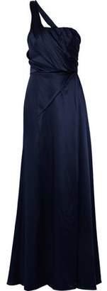 Carolina Herrera One-Shoulder Gathered Silk-Satin Gown
