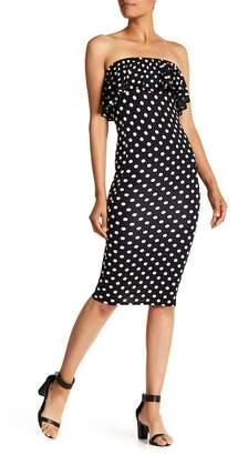 Velvet Torch Ruffle Strapless Dot Dress