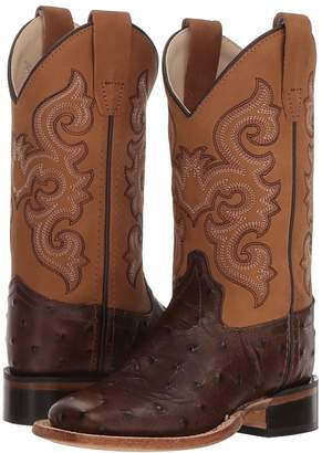 Old West Kids Boots Ostrich Print Square Toe Cowboy Boots